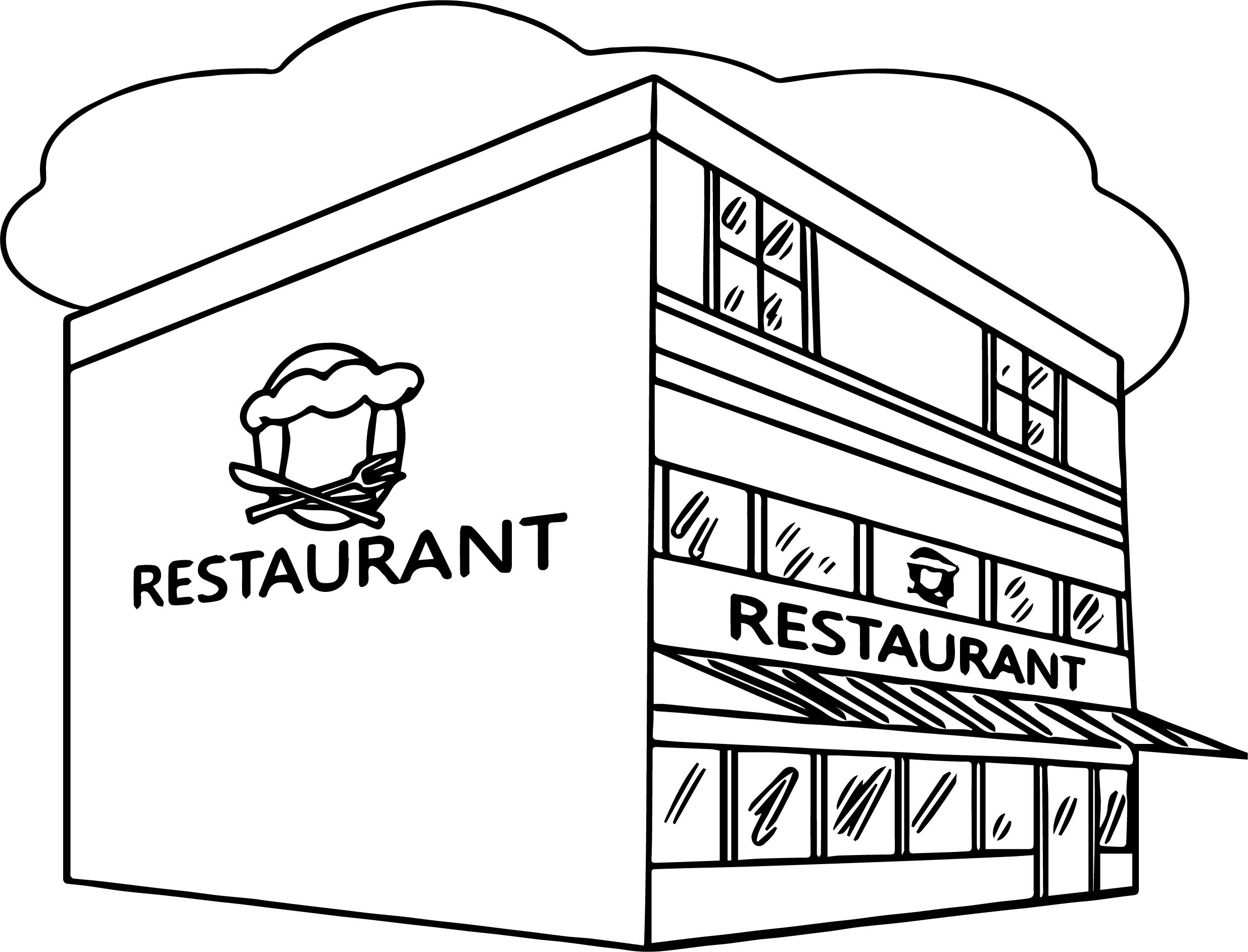 Restaurant Building Clipart Black And White.