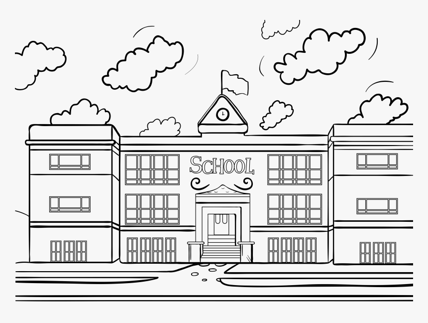 Transparent Library Building Clipart Black And White.