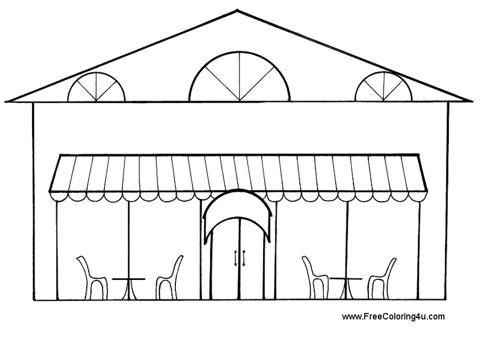 Restaurant Coloring Pages Free.