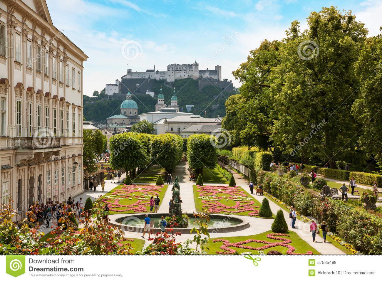 Mirabell Garden, Castle Hohensalzburg Editorial Stock Photo.