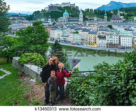 Stock Photo of Summer Salzburg City view from up (Austria.