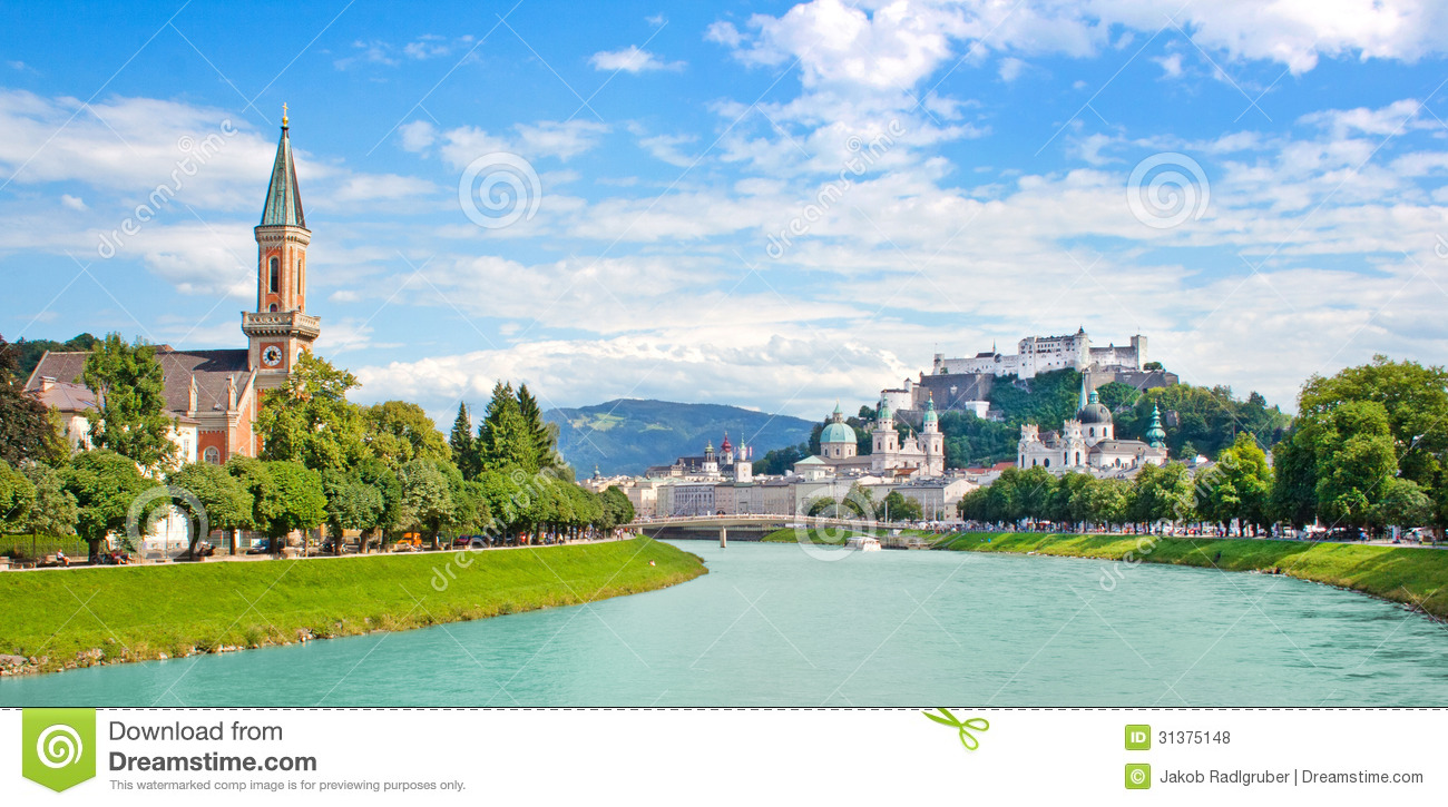 Salzburg Skyline With Festung Hohensalzburg And River Salzach.