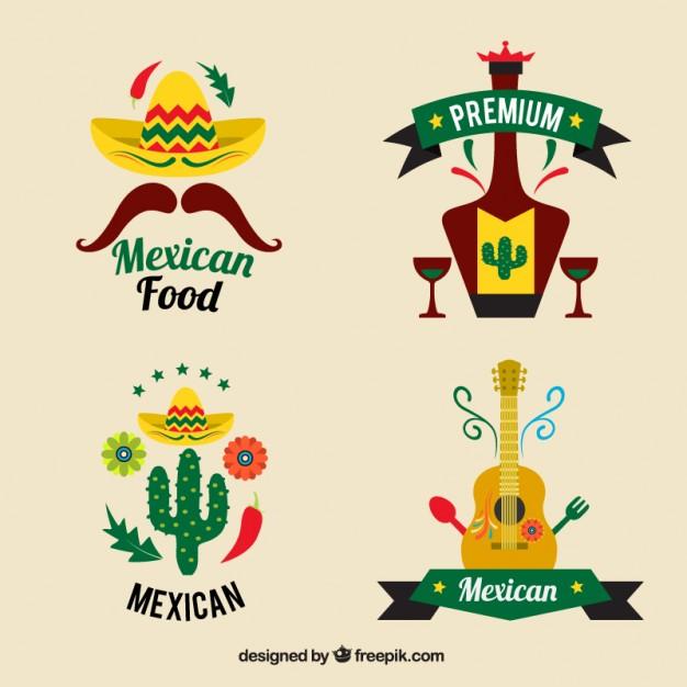 Mexican restaurants logo set Vector.