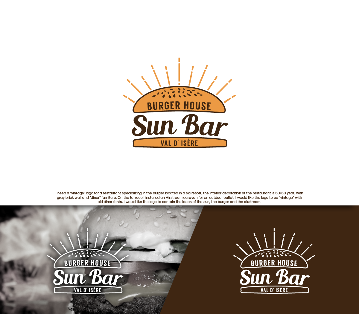 Restaurant Logo Design for Sun Bar. Burger house. Valley of.