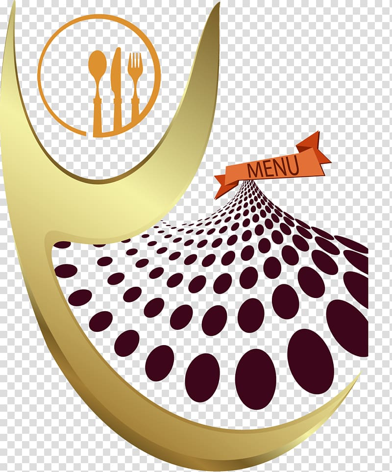 Orange flatware logo, Cafe Haute cuisine Menu Restaurant.