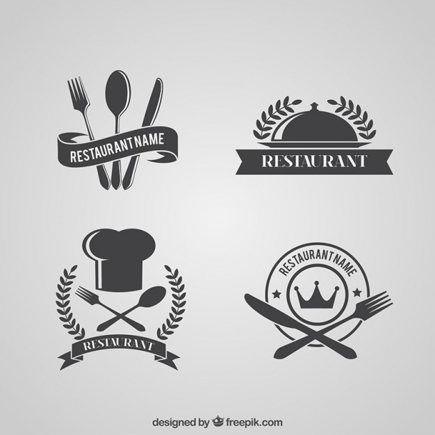 Retro restaurant logos pack Vector.