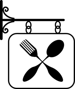 Restaurant Sign Featuring a Fork and Spoon.