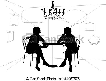 Stock Illustrations of two women speaking at the table in cafe.