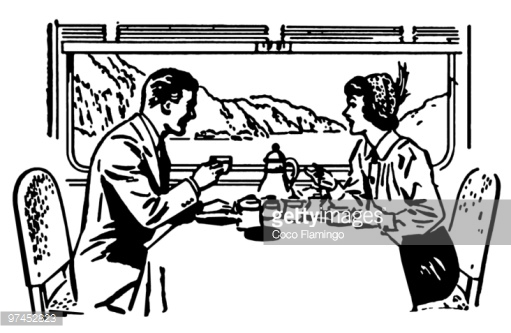 A Vintage Illustration Of A Couple Dining In A Train Restaurant.