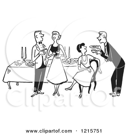 Clipart of a Polite Happy Couple and Waiter Taking Their Order at.