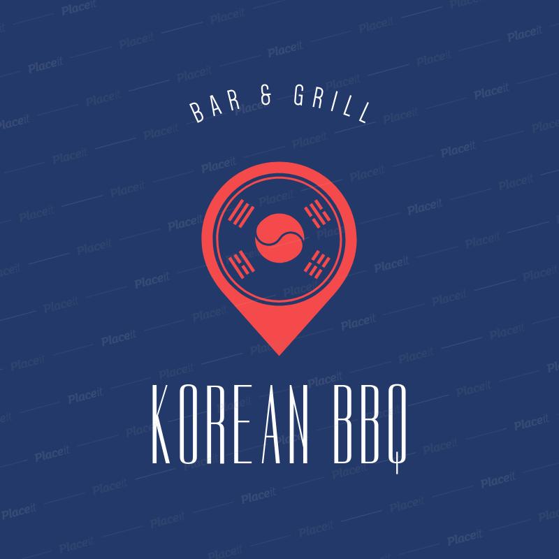 Online Logo Maker for a Korean Food Restaurant with Flag Icon 1222d.