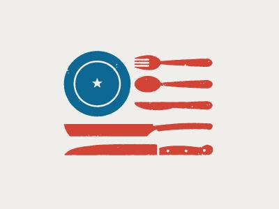 Restaurant With Flag Logo.