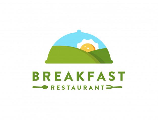 Mountain landscape and sun omelette, breaksfast restaurant.
