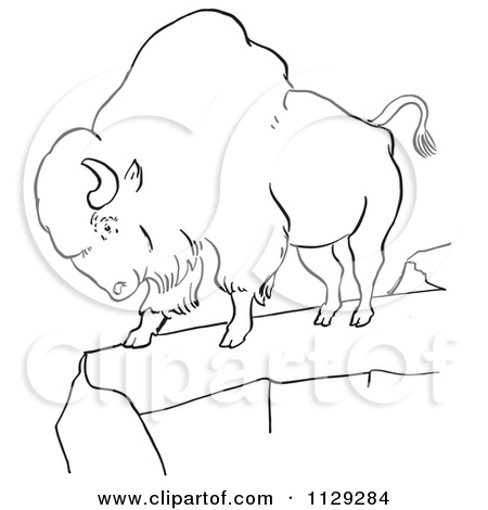 Cartoon Clipart Of An Outlined Resting Bison.