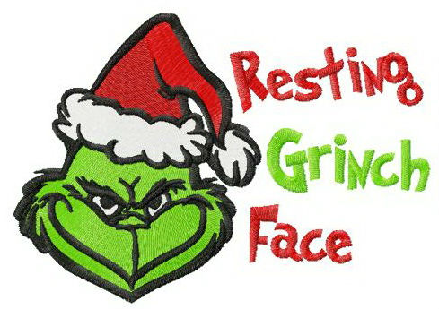 Resting Grinch face horizontal embroidery design.