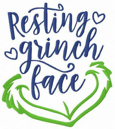 Resting Grinch face embroidery design.