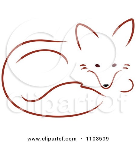 Clipart Cute Red Fox Resting In A Curled Position.