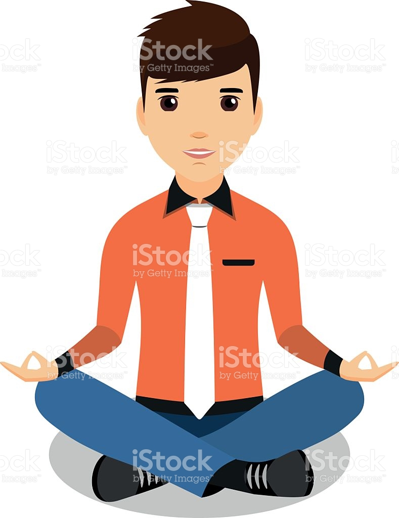 Businessman Resting In The Orange Shirt In The Lotus Position.