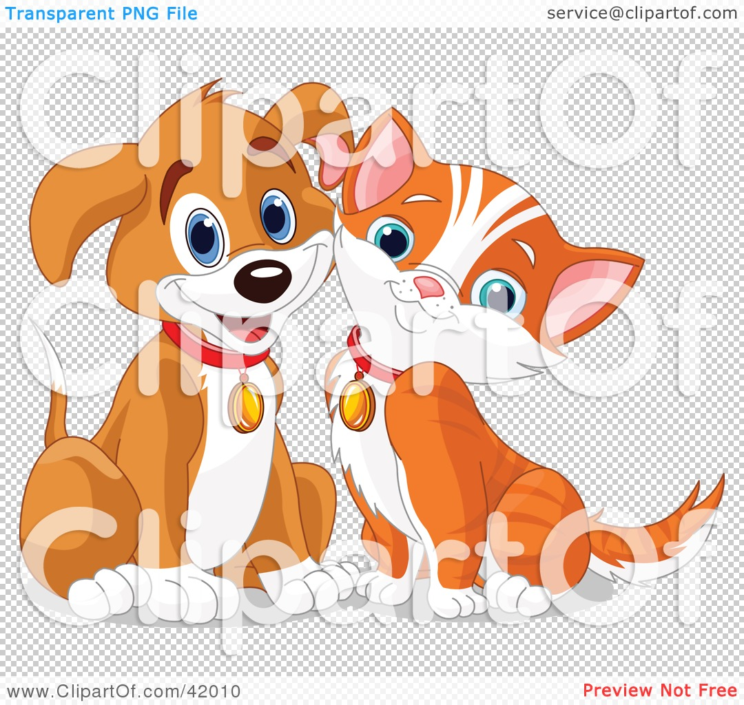 Clipart Illustration of a Happy Brown Puppy And Orange Kitten.