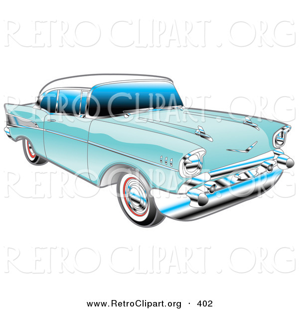 Retro Clipart of a Restored Blue 1957 Chevy Bel Air Car with a.