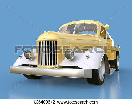 Clip Art of Old restored pickup. Pick.