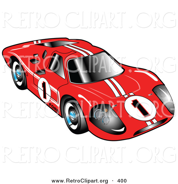 Retro Clipart of a Restored Red 1967 Ford Mark IV GT40 Racing Car.