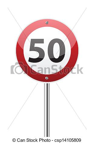 Vector Clipart of Traffic sign speed limit fifty on white.