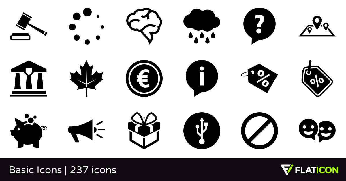Basic Icons +235 free icons (SVG, EPS, PSD, PNG files).