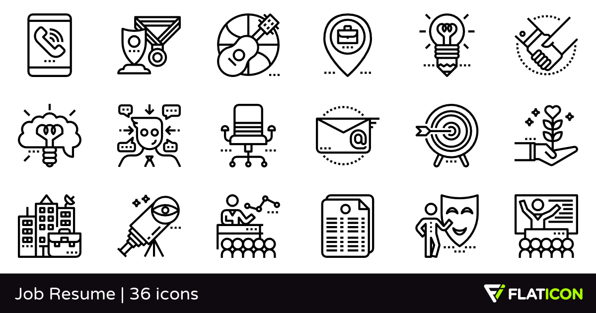 Job Resume 36 free icons (SVG, EPS, PSD, PNG files).