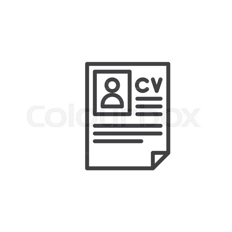 Cv resume line icon, outline vector.