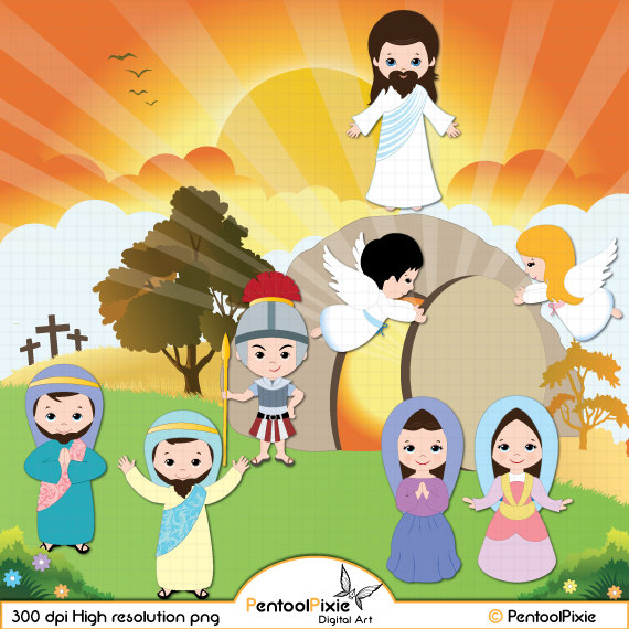 Jesus Resurrection clipart, Christianity clipart, Easter clipart.