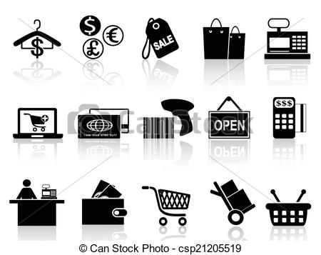 Vector Clip Art of black retail and shopping icons set.