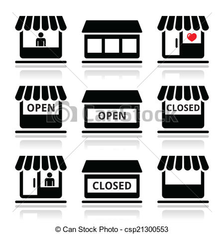 Clipart Vector of Shop or store, supermarket icons.