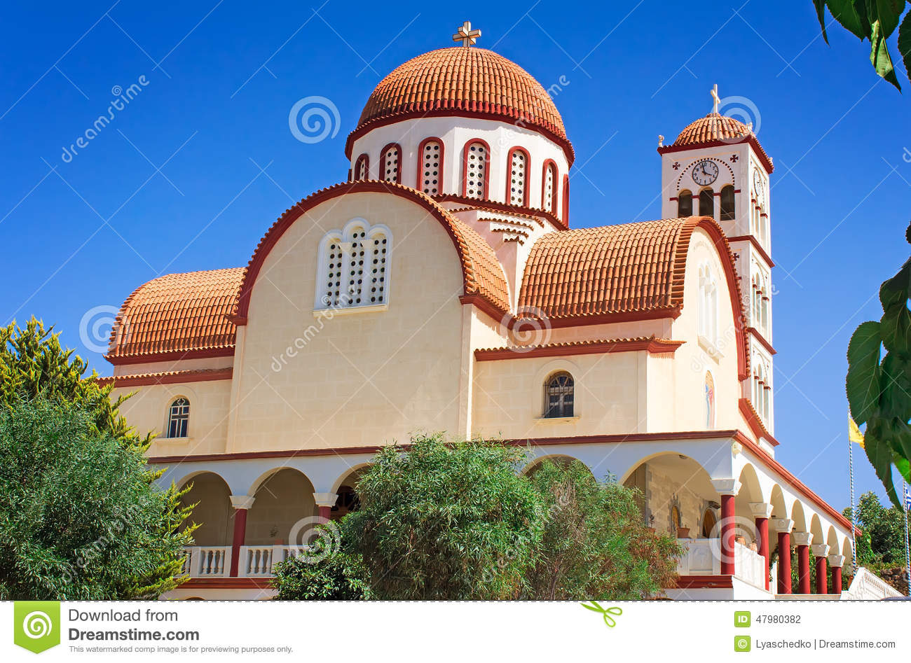 Orthodox Church In The Town Of Rethymno, Crete, Greece. Stock.