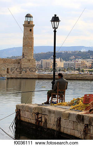 Stock Photography of Greece, Crete, Rethymno, the port f0036111.