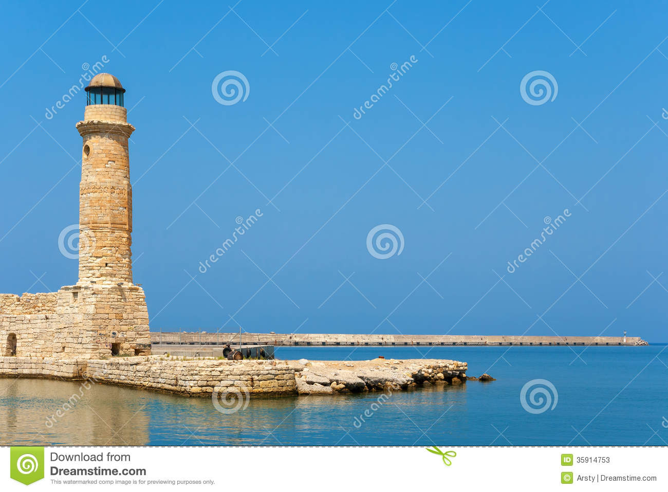 Old Lighthouse. Rethymno, Crete, Greece Stock Photos.