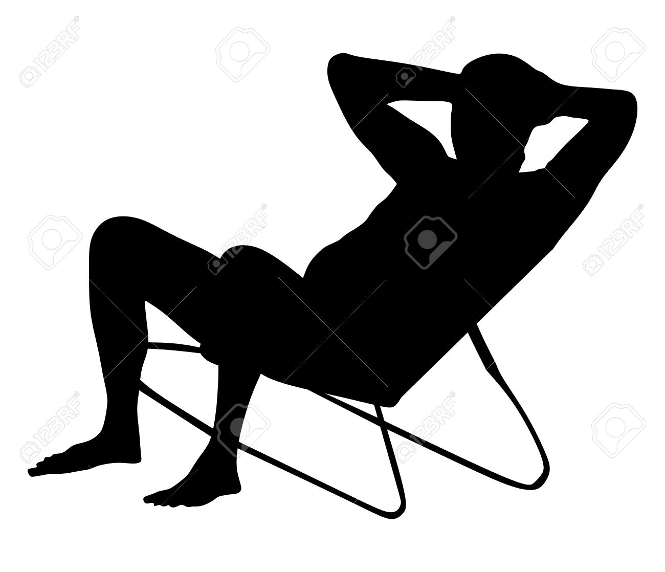 Retired Old Man On Vacation Sitting In Beach Chair, Vector.