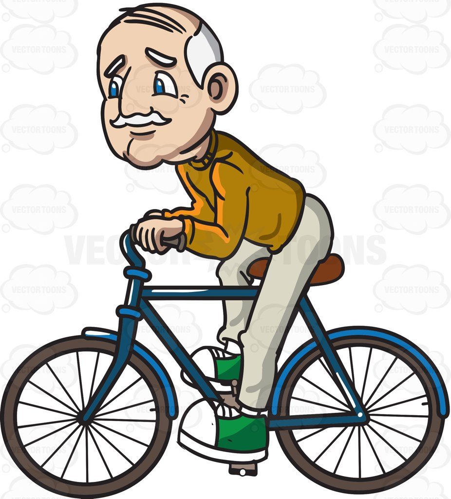 A Grandpa Riding A Bicycle Cartoon Clipart.