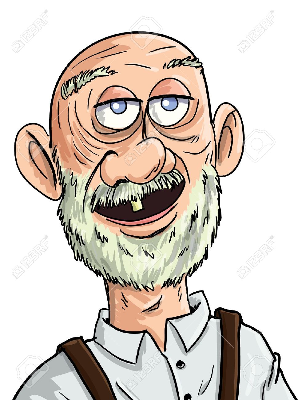 Cartoon Old Man With One Tooth. Isolated Royalty Free Cliparts.