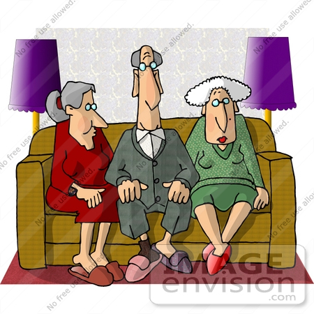 Group of Retired Seniors Sitting on a Couch Clipart.