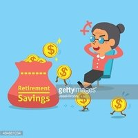 Cartoon Old Woman With Retirement Savings Bag and Coins.