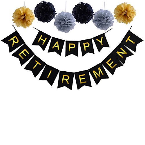 Threemart Happy Retirement Banner Bunting.