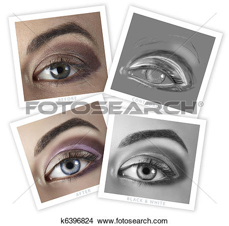 Drawings of eye retouching before and after k6396824.