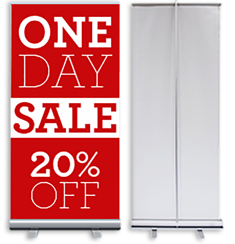 RETRACTABLE ROLL UP BANNER.