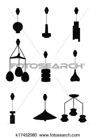 Clipart of retro retractable ceiling lamps k17452080.