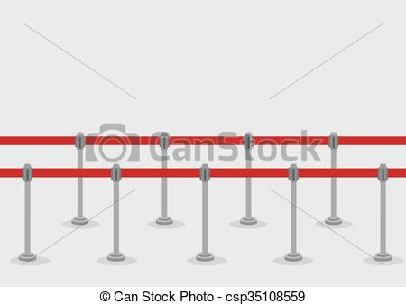 Clipart Vector of Retractable Belt Queue Stanchions Illustration.
