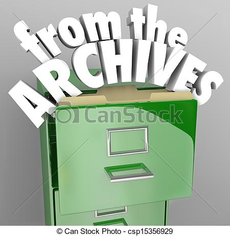 Clip Art of From the Archives File Cabinet Retrieve Historical.