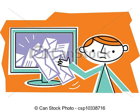 Clipart of Man retrieving mail from internet csp10338716.