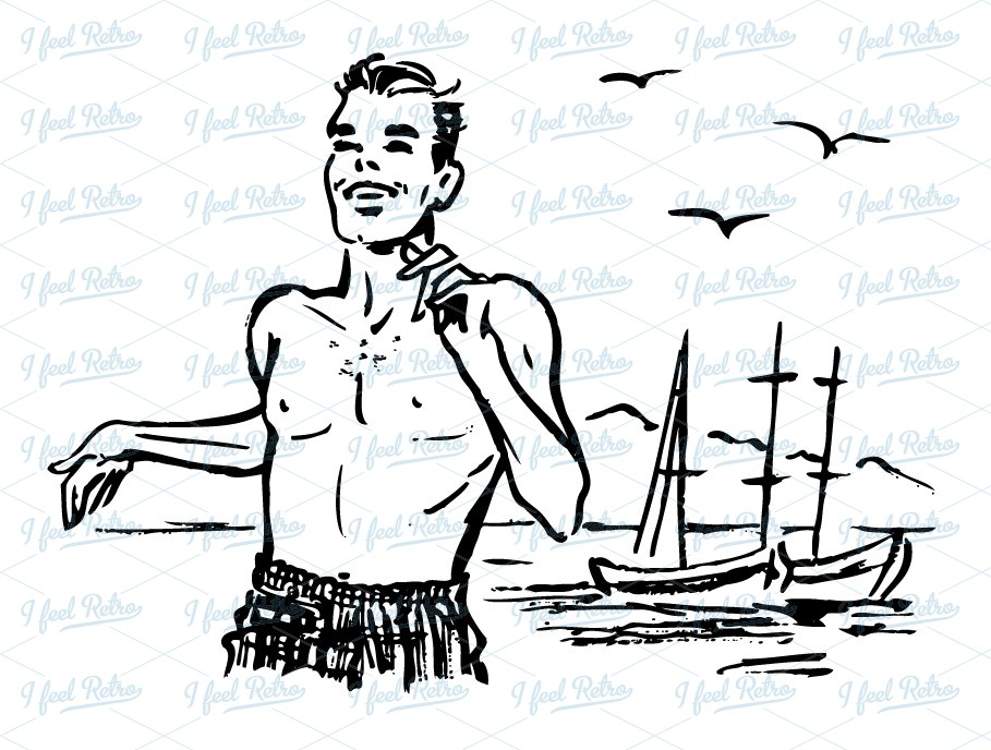 Retro Clipart: Man running at the beach.