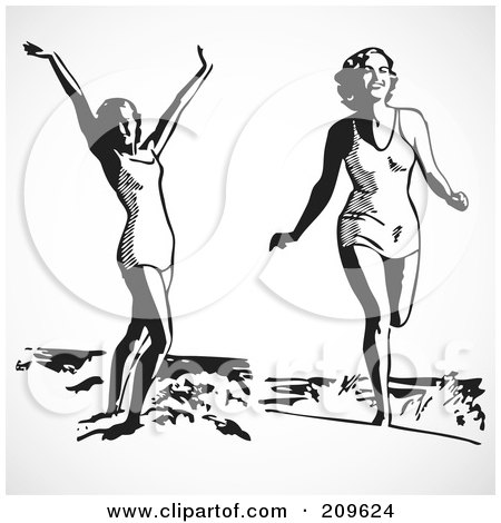 Clipart of a Black and White Retro Tropical Beach.